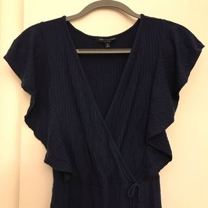 Navy romper with butterfly sleeves